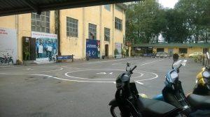 sân thi bằng lái xe máy tại ĐH PCCC Bộ Công An